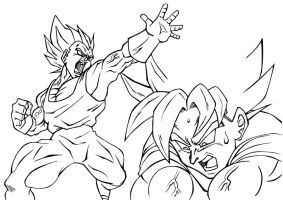 Vegeta and Goku Inked by guerotheartist