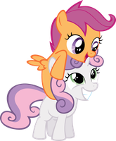 Sweetie Belle and Scootaloo by Shnakes