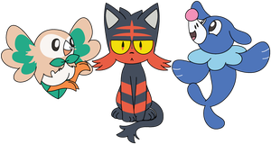 Rowlet - Litten - Popplio by HootisPootis