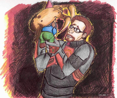 Freeman gnome and headcrab by FreckledSunflower