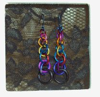 Rainbow Chain Earrings by ACrowsCollection