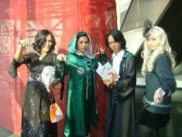 Slytherin students by seawaterwitch