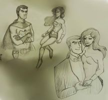 more Diana and Bruce sketches by izzy1992