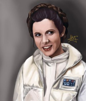 Carrie Fisher as Princess Leia by ThyQueenAmy