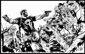 Frank castle vs zombies inks by BDixonarts