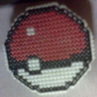 Xstitch Pokeball pin by Sew-Madd