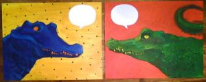 Caiman Diptych by ashleigheperry