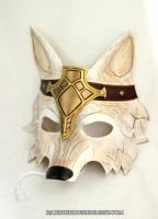 Crowned Barbarian Wolf Handmade Leather Mask by senorwong