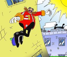 Eggman's Escape from the city. by FlutterAnderson