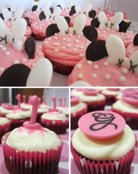 First Birthday Minnie Mouse Cupcakes by iliketodoodle
