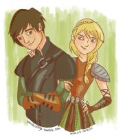 Hiccup and Astrid by illustrationrookie