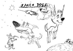 Space Dogs in Quentin Blake style by MortenEng21