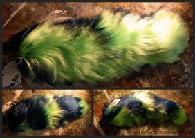 Neon Green and Blue Yarn Tail by EvlonArts