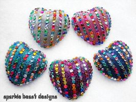 5 Colors Resin Glitter Hearts by Natalie526