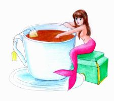 tea time mermaid by hananovie