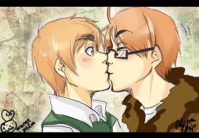 APH: Stealing Kisses by orange-plum