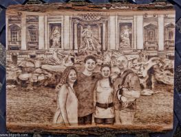 Portrait in front of Trevi Fountain - Wood burning by brandojones