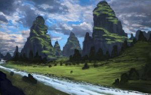 Mountain landscape by Guy-Mandude