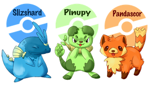 pokemon starters by michellescribbles