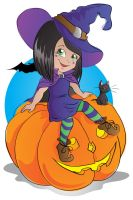 Witch on pumpkin vector by jkBunny