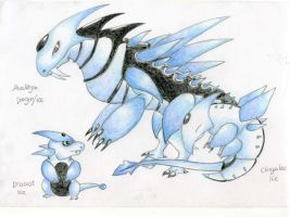 Fakemon - Ice dragons by Werebudgie