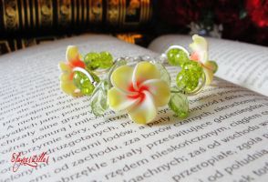 Polymer clay sunny flower bracelet by Benia1991