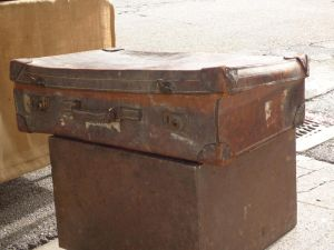 Old leather suitcase or retro suitcase by A1Z2E3R