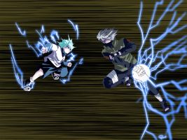 One-Year Event - Killua vs Kakashi by clgtart