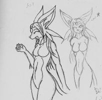 Revisit sketch: Espeon Sol by Snowfyre