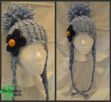 Blue flower hat knitted by Louness26