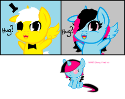 Bill Cipher Pony and OC: Alli by queen-of-fanart