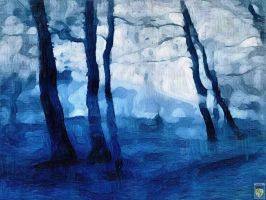 blue trees at storm by imageking10