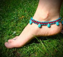 Fairy Tale summer Anklet sky blue gemstone howlite by noisypixie