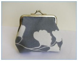 Grey Ginkgo purse by restlesswillow
