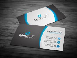 Stylish Blue Curved Lines Business Card Template by mengloong