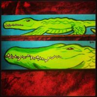 Painted Wooden Board- Two Alligators by JadasArtVision