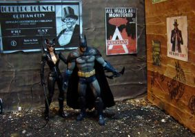 Arkham City Alley with Batman and Catwoman by skphile