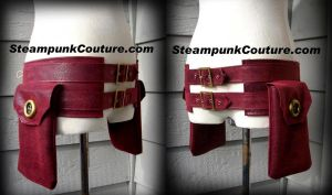 Red Steampunk Pouch Belt by ByKato