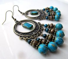 Bronze Turquoise Blue Chandelier by Gerene33