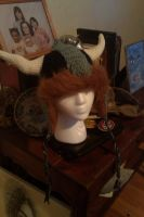 Fur lined viking hat with horn by Drgibbs