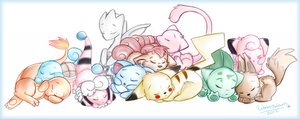 Sleeping Pokemon by WaterGleam