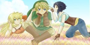 Tsume, Link and Ryna by HylianGuardians