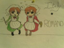 Italy and Romano by FluffyRainbow116