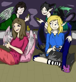 Gaming night/ Angels and demons can be friends by Abbysmiles43