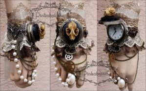 Vampire bat skull watch cuff by Pinkabsinthe