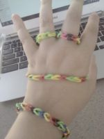 Loom band Bracelets and Rings.. by liongirl2289