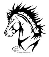 Tribal Horse Tattoo by Black-Heart-Always