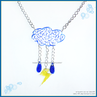 Hand Made Blue Cloud Drops Bolt Necklace by izka-197