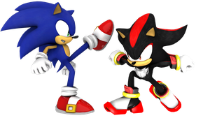Sonic vs Shadow - Sonic X render by Jogita6