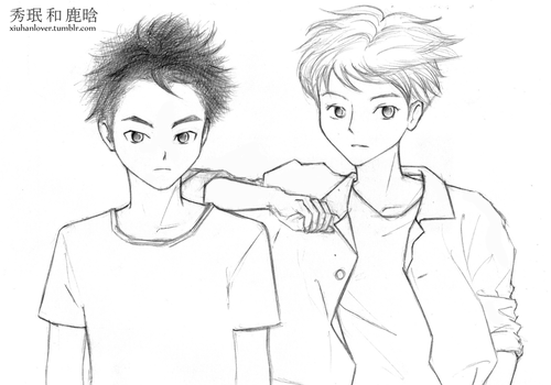 XiuMin and LuHan in manga style by YeboBB